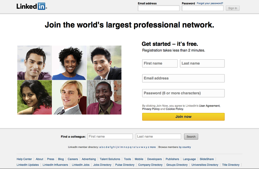 LinkedIn Sign In Page